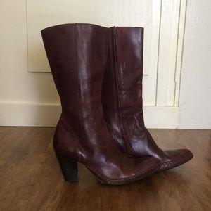 Snip Toe Heeled Wine Leather Boots